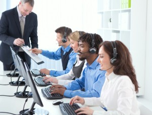 call queue employees with headsets